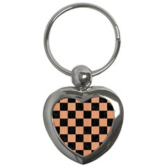 Square1 Black Marble & Natural Red Birch Wood Key Chains (heart)  by trendistuff