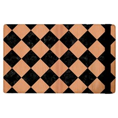 Square2 Black Marble & Natural Red Birch Wood Apple Ipad 3/4 Flip Case by trendistuff