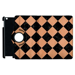 Square2 Black Marble & Natural Red Birch Wood Apple Ipad 2 Flip 360 Case by trendistuff