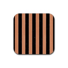 Stripes1 Black Marble & Natural Red Birch Wood Rubber Coaster (square)  by trendistuff