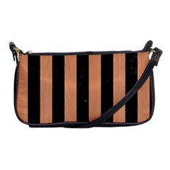 Stripes1 Black Marble & Natural Red Birch Wood Shoulder Clutch Bags by trendistuff