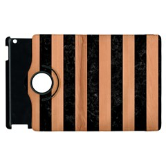 Stripes1 Black Marble & Natural Red Birch Wood Apple Ipad 3/4 Flip 360 Case by trendistuff