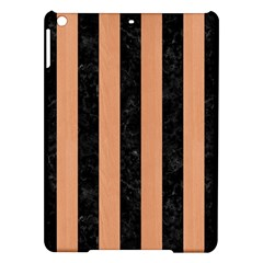 Stripes1 Black Marble & Natural Red Birch Wood Ipad Air Hardshell Cases by trendistuff
