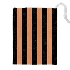 Stripes1 Black Marble & Natural Red Birch Wood Drawstring Pouches (xxl) by trendistuff