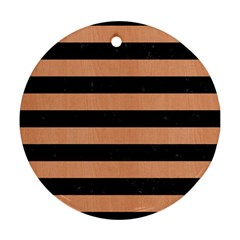 Stripes2 Black Marble & Natural Red Birch Wood Round Ornament (two Sides) by trendistuff