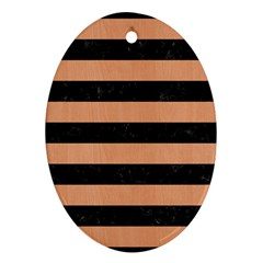 Stripes2 Black Marble & Natural Red Birch Wood Oval Ornament (two Sides) by trendistuff