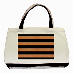 Stripes2 Black Marble & Natural Red Birch Wood Basic Tote Bag (two Sides) by trendistuff