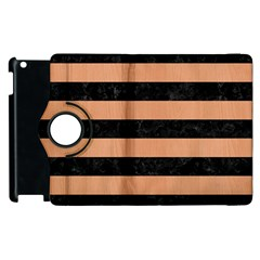 Stripes2 Black Marble & Natural Red Birch Wood Apple Ipad 2 Flip 360 Case by trendistuff