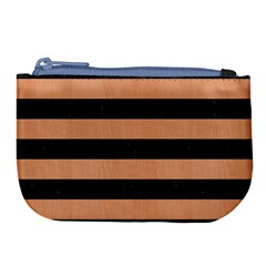 Stripes2 Black Marble & Natural Red Birch Wood Large Coin Purse by trendistuff