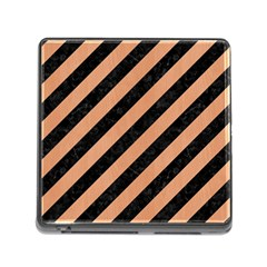 Stripes3 Black Marble & Natural Red Birch Wood Memory Card Reader (square) by trendistuff