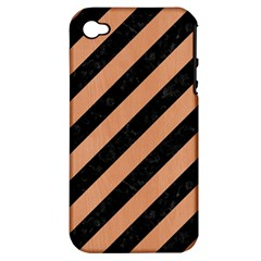 Stripes3 Black Marble & Natural Red Birch Wood Apple Iphone 4/4s Hardshell Case (pc+silicone) by trendistuff