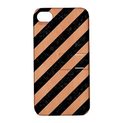 Stripes3 Black Marble & Natural Red Birch Wood Apple Iphone 4/4s Hardshell Case With Stand by trendistuff