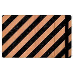 Stripes3 Black Marble & Natural Red Birch Wood Apple Ipad Pro 12 9   Flip Case by trendistuff