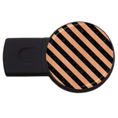 Stripes3 Black Marble & Natural Red Birch Wood (r) Usb Flash Drive Round (2 Gb) by trendistuff