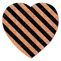 Stripes3 Black Marble & Natural Red Birch Wood (r) Jigsaw Puzzle (heart)