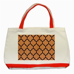 Tile1 Black Marble & Natural Red Birch Wood (r) Classic Tote Bag (red)