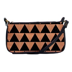Triangle2 Black Marble & Natural Red Birch Wood Shoulder Clutch Bags by trendistuff