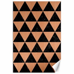 Triangle3 Black Marble & Natural Red Birch Wood Canvas 24  X 36  by trendistuff