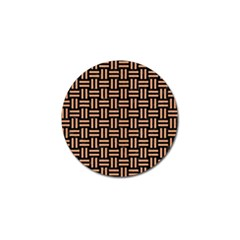 Woven1 Black Marble & Natural Red Birch Wood Golf Ball Marker by trendistuff