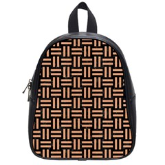 Woven1 Black Marble & Natural Red Birch Wood School Bag (small) by trendistuff