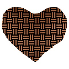 Woven1 Black Marble & Natural Red Birch Wood Large 19  Premium Flano Heart Shape Cushions by trendistuff