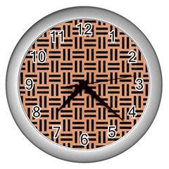 Woven1 Black Marble & Natural Red Birch Wood (r) Wall Clocks (silver)  by trendistuff