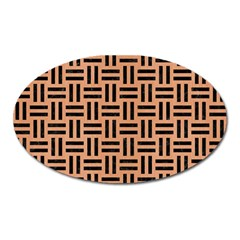 Woven1 Black Marble & Natural Red Birch Wood (r) Oval Magnet by trendistuff