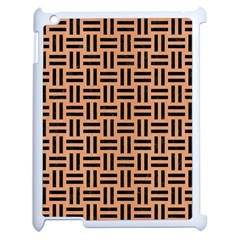 Woven1 Black Marble & Natural Red Birch Wood (r) Apple Ipad 2 Case (white) by trendistuff