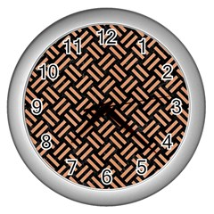 Woven2 Black Marble & Natural Red Birch Wood Wall Clocks (silver)  by trendistuff
