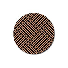 Woven2 Black Marble & Natural Red Birch Wood Magnet 3  (round) by trendistuff