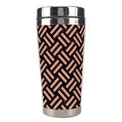 Woven2 Black Marble & Natural Red Birch Wood Stainless Steel Travel Tumblers by trendistuff