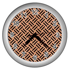 Woven2 Black Marble & Natural Red Birch Wood (r) Wall Clocks (silver)  by trendistuff