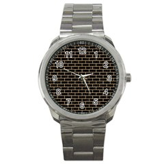 Brick1 Black Marble & Natural White Birch Wood Sport Metal Watch by trendistuff