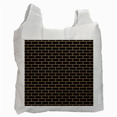 Brick1 Black Marble & Natural White Birch Wood Recycle Bag (two Side)  by trendistuff