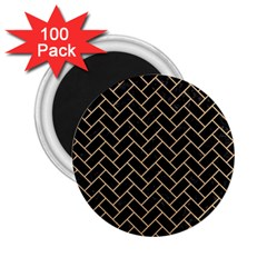 Brick2 Black Marble & Natural White Birch Wood 2 25  Magnets (100 Pack)  by trendistuff
