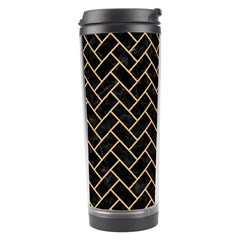 Brick2 Black Marble & Natural White Birch Wood Travel Tumbler by trendistuff