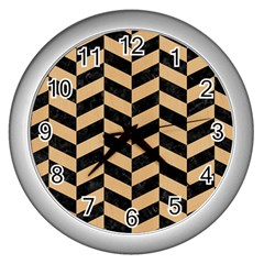 Chevron1 Black Marble & Natural White Birch Wood Wall Clocks (silver)  by trendistuff