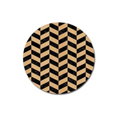 Chevron1 Black Marble & Natural White Birch Wood Magnet 3  (round)