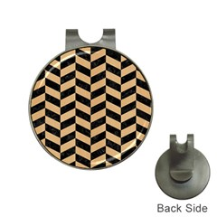 Chevron1 Black Marble & Natural White Birch Wood Hat Clips With Golf Markers by trendistuff