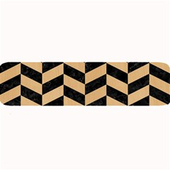Chevron1 Black Marble & Natural White Birch Wood Large Bar Mats by trendistuff