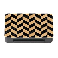Chevron1 Black Marble & Natural White Birch Wood Memory Card Reader With Cf by trendistuff