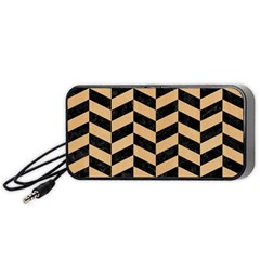 Chevron1 Black Marble & Natural White Birch Wood Portable Speaker by trendistuff