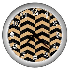 Chevron2 Black Marble & Natural White Birch Wood Wall Clocks (silver)  by trendistuff