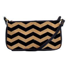 Chevron3 Black Marble & Natural White Birch Wood Shoulder Clutch Bags by trendistuff