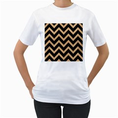 Chevron9 Black Marble & Natural White Birch Wood Women s T Shirt (white) (two Sided)