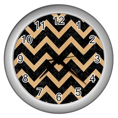 Chevron9 Black Marble & Natural White Birch Wood Wall Clocks (silver)  by trendistuff
