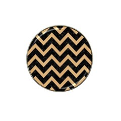 Chevron9 Black Marble & Natural White Birch Wood Hat Clip Ball Marker by trendistuff