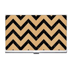 Chevron9 Black Marble & Natural White Birch Wood (r) Business Card Holders by trendistuff