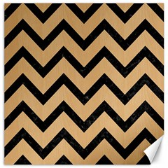 Chevron9 Black Marble & Natural White Birch Wood (r) Canvas 12  X 12   by trendistuff