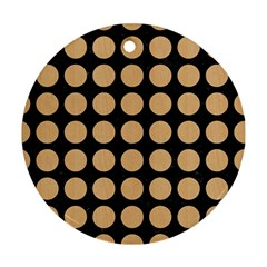Circles1 Black Marble & Natural White Birch Wood Round Ornament (two Sides) by trendistuff